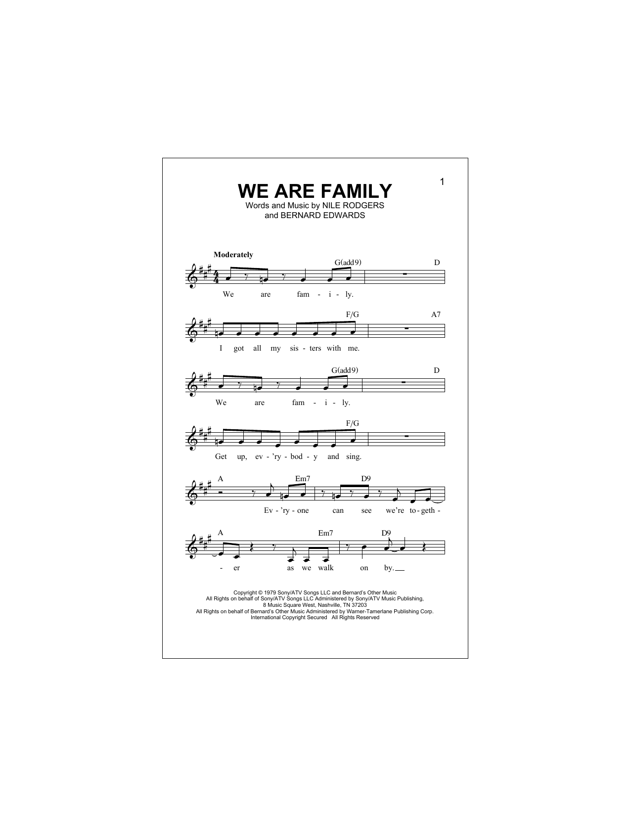 We Are Family Sheet Music