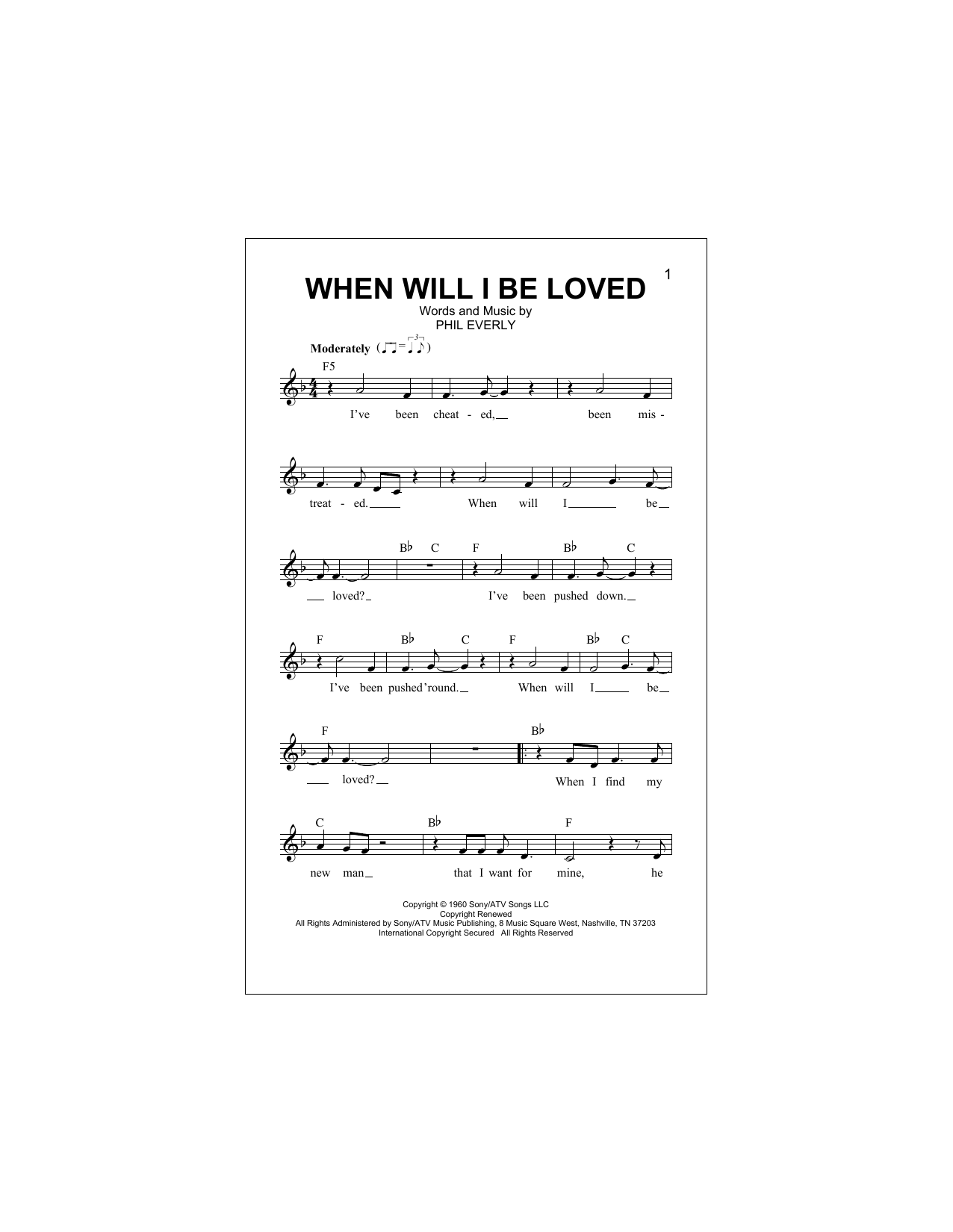 When Will I Be Loved Sheet Music