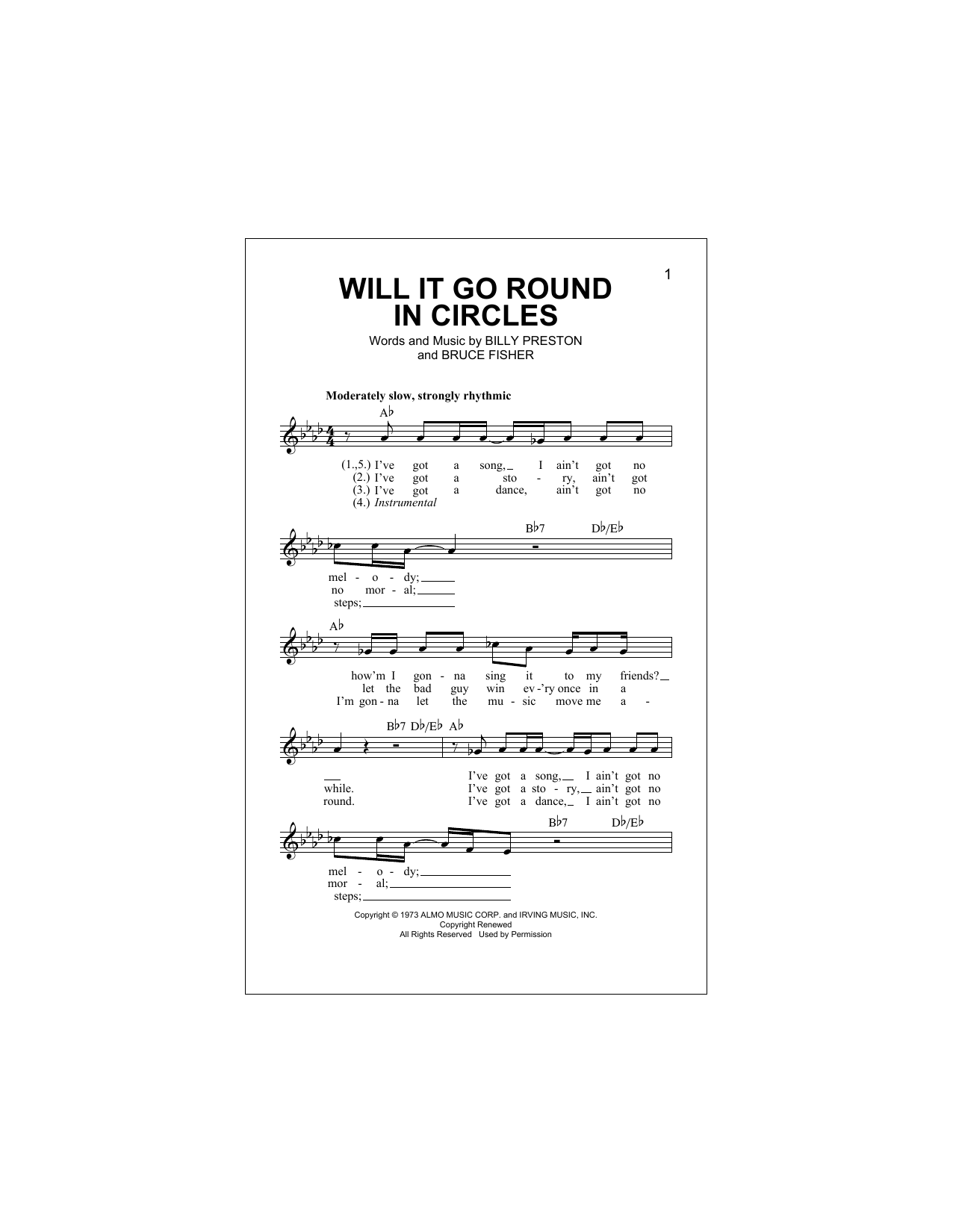 Will It Go Round In Circles Sheet Music