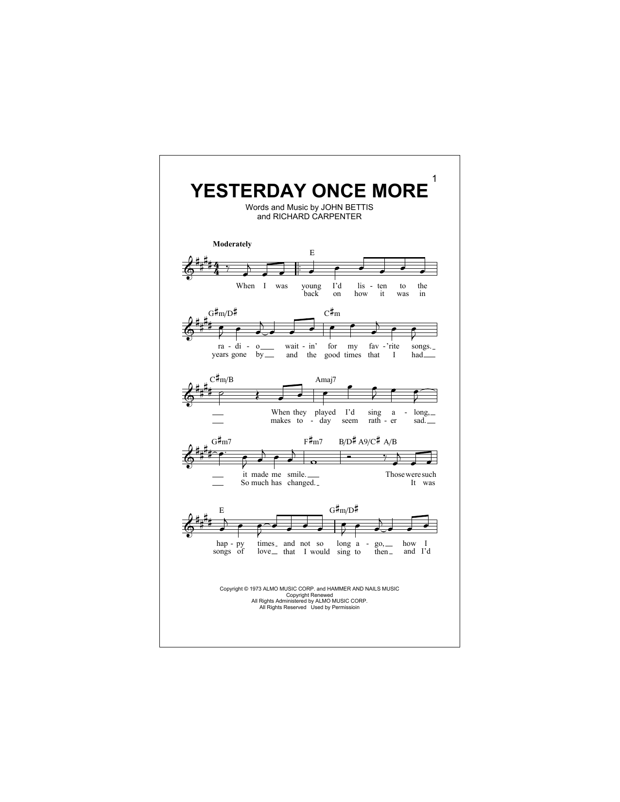 Yesterday Once More Sheet Music