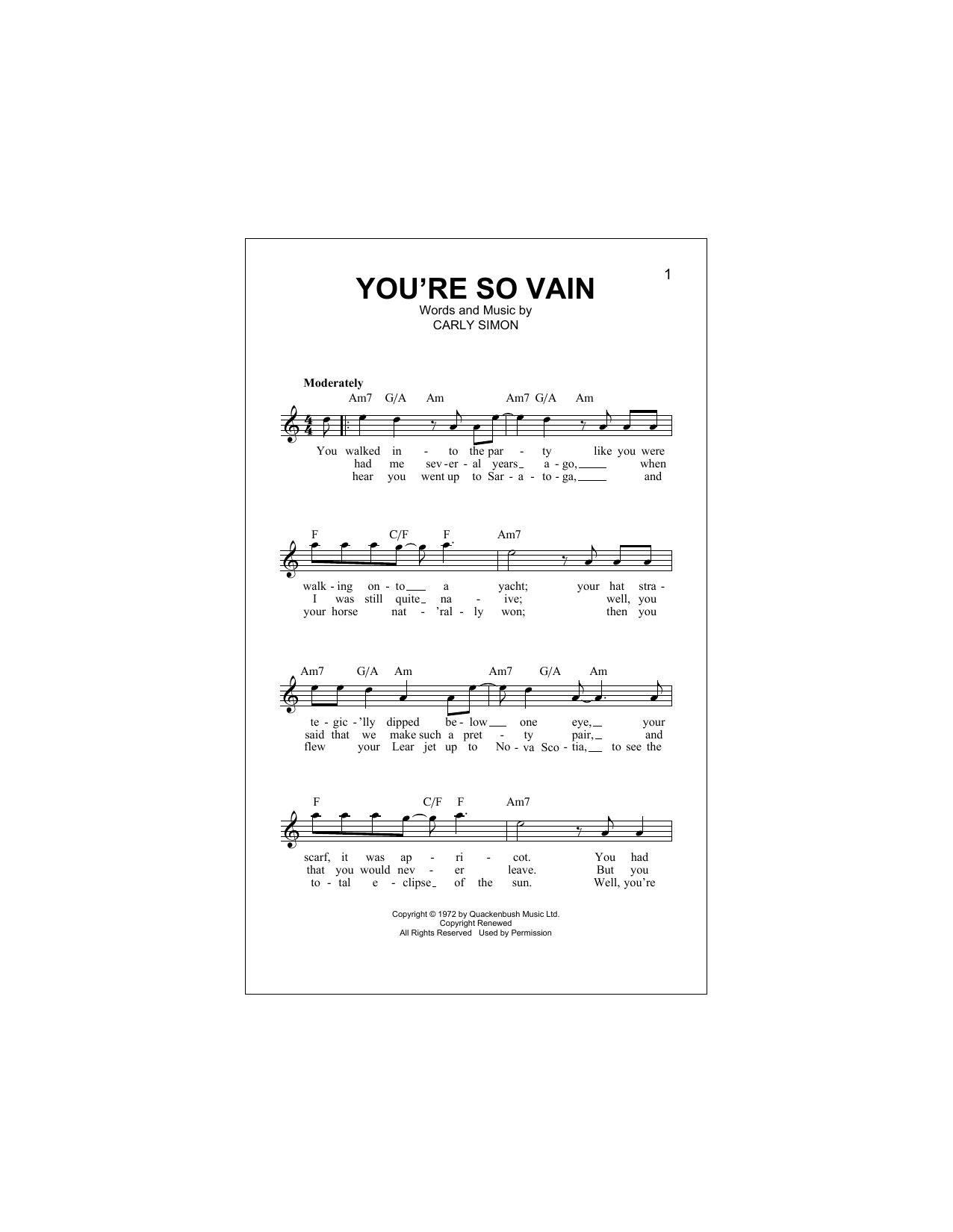 You're So Vain Sheet Music