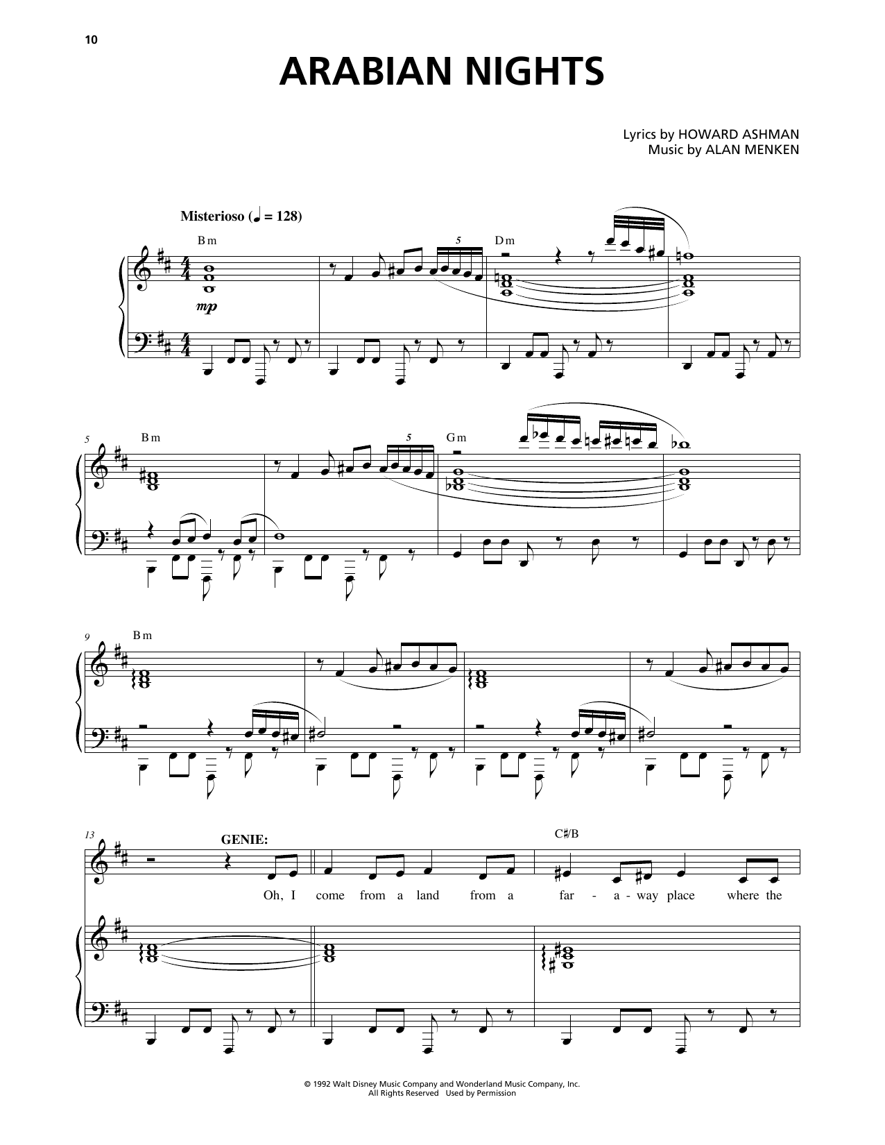 Arabian Nights (from Aladdin: The Broadway Musical) by Alan Menken Piano,  Vocal & Guitar (Right-Hand Melody) Digital Sheet Music