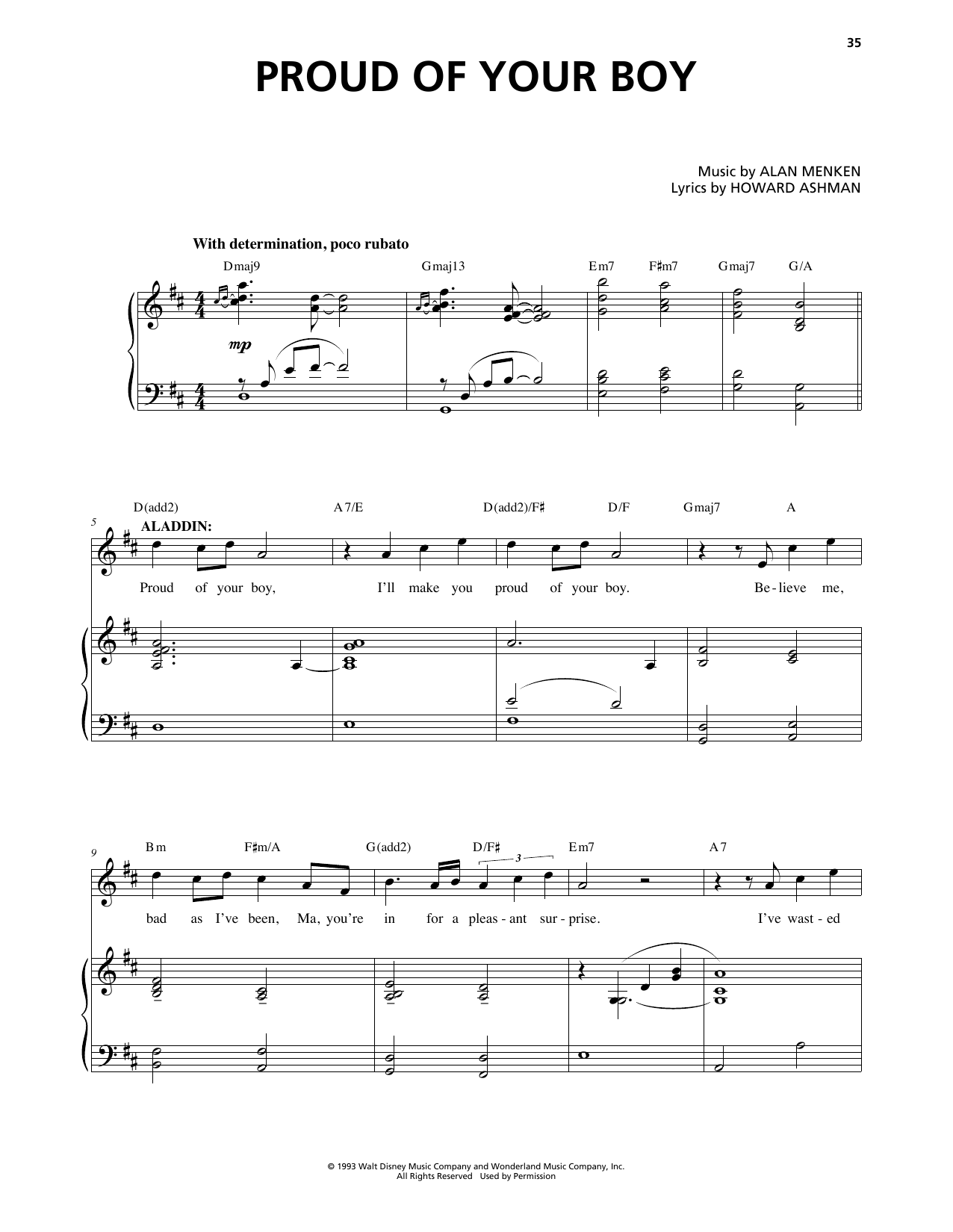 Proud Of Your Boy (from Aladdin: The Broadway Musical) Sheet Music