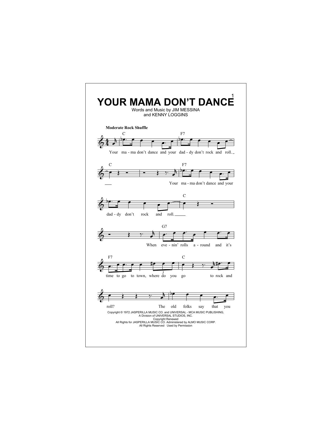 Your Mama Don't Dance Sheet Music