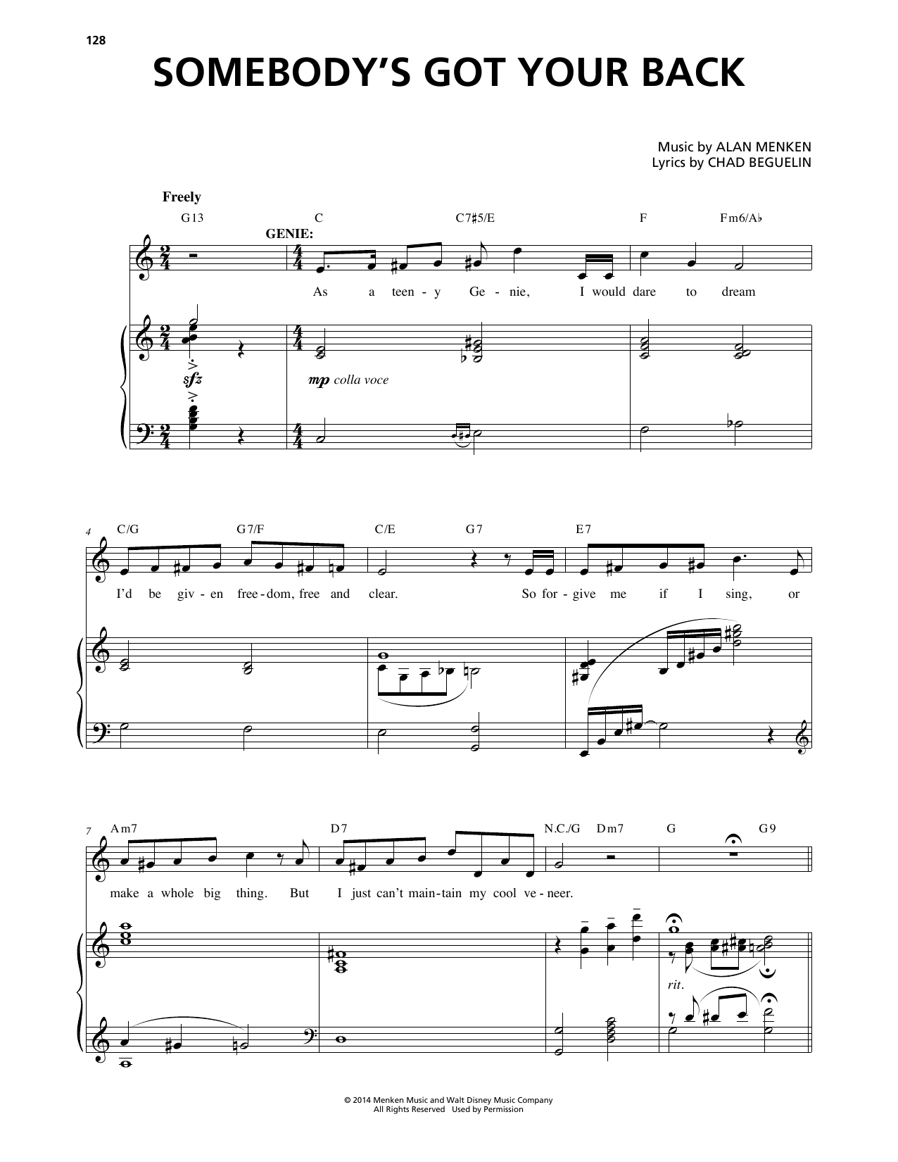 Somebody's Got Your Back (from Aladdin: The Broadway Musical) Sheet Music