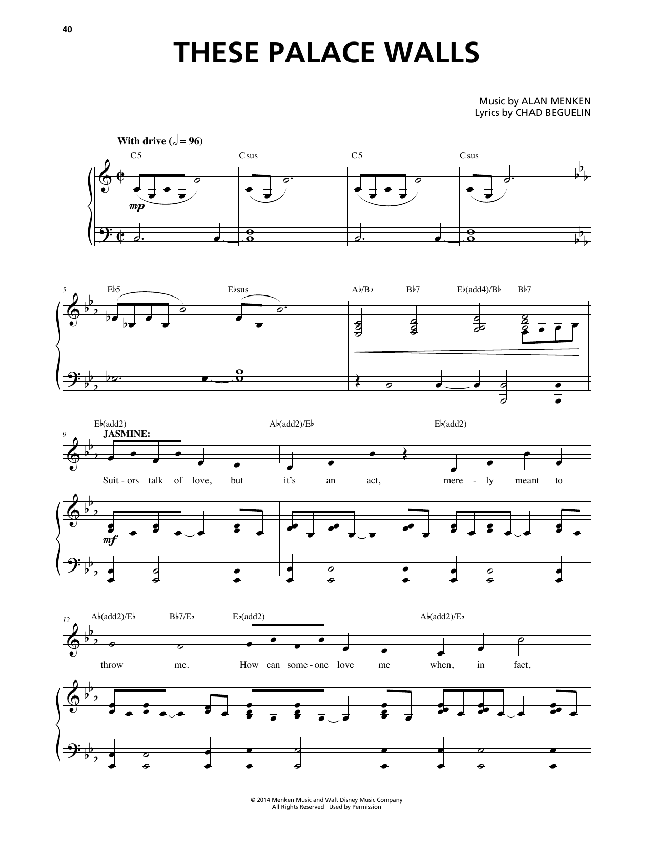 These Palace Walls (from Aladdin: The Broadway Musical) Sheet Music