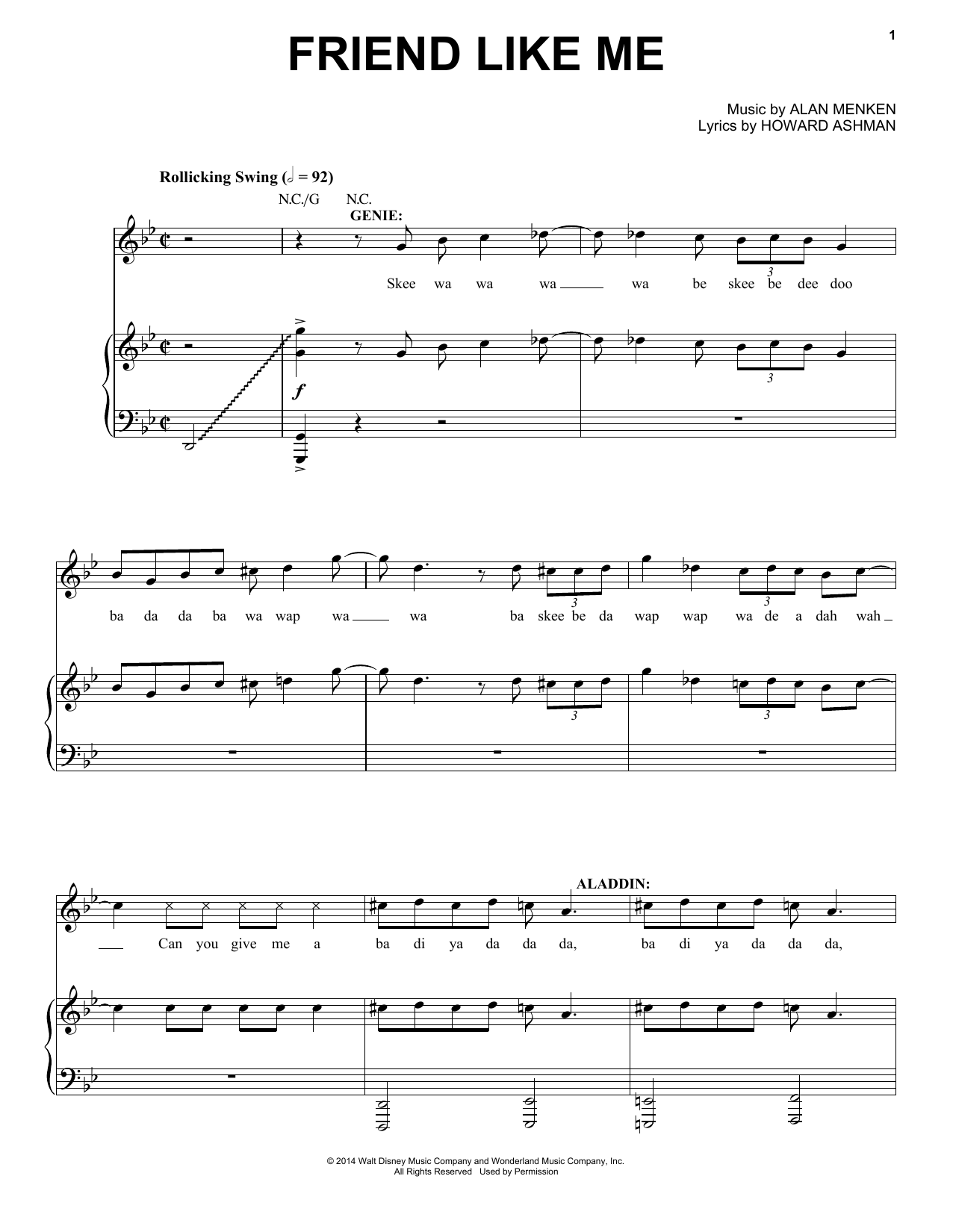 Friend Like Me (Stageplay Version) Sheet Music