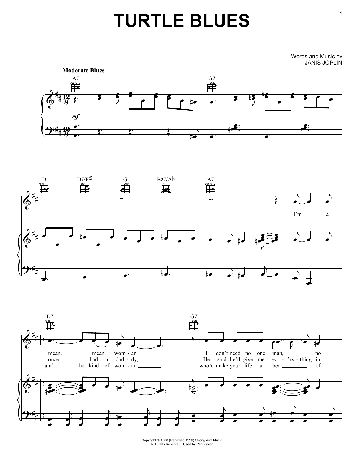 Turtle Blues (from the musical A Night With Janis Joplin) (Piano, Vocal & Guitar (Right-Hand Melody))