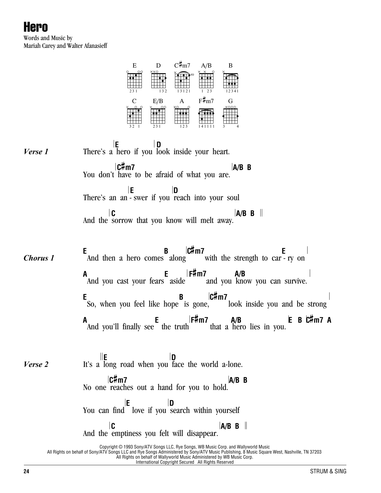 Hero Sheet Music Mariah Carey Lyrics Chords