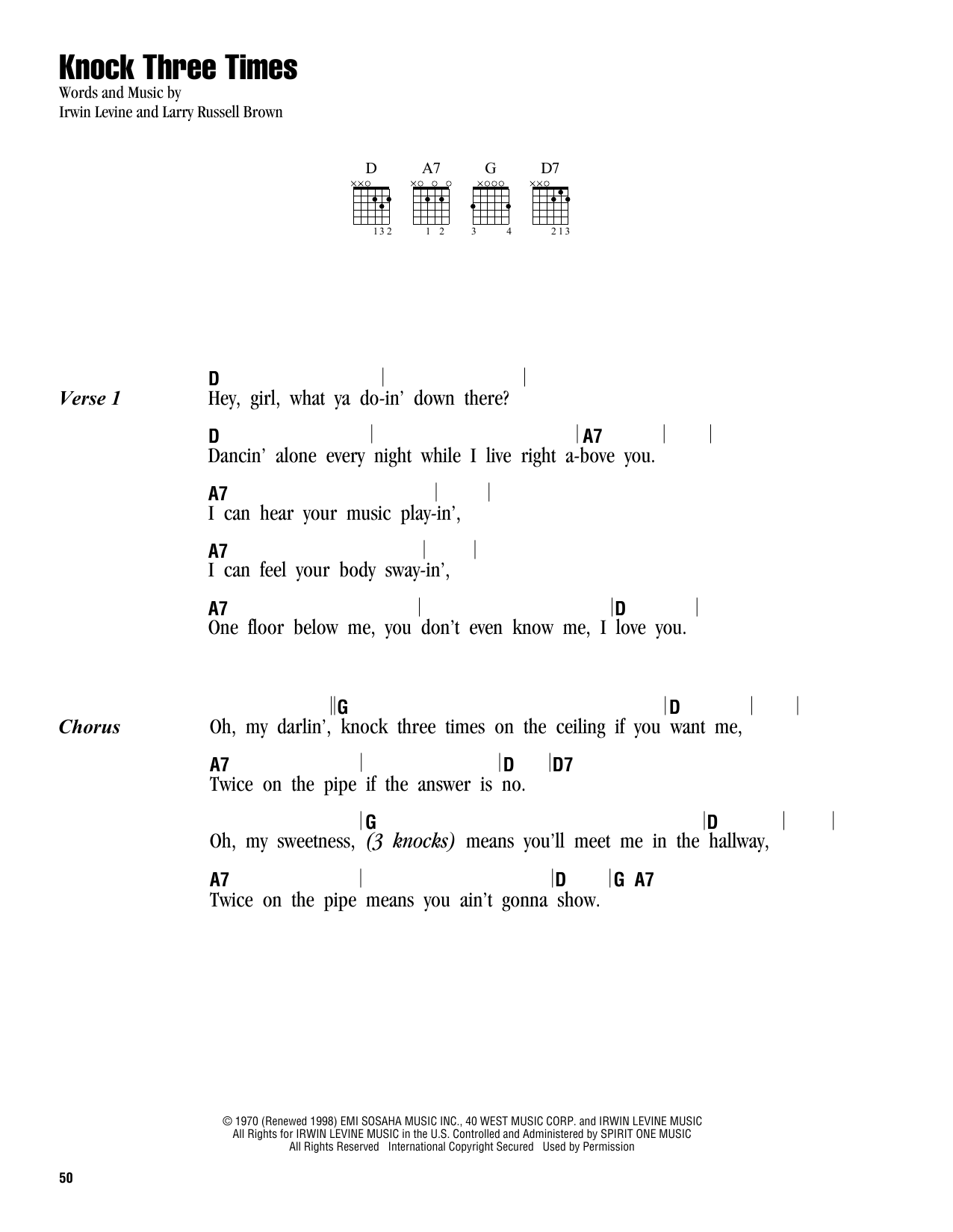 Knock Three Times (Lyrics & Chords)