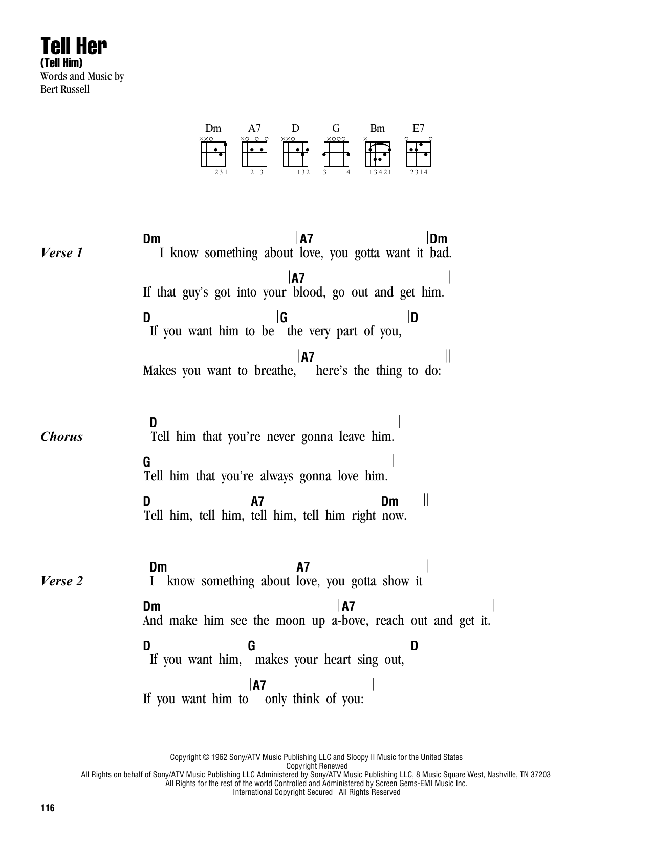 Tell Her (Tell Him) Sheet Music
