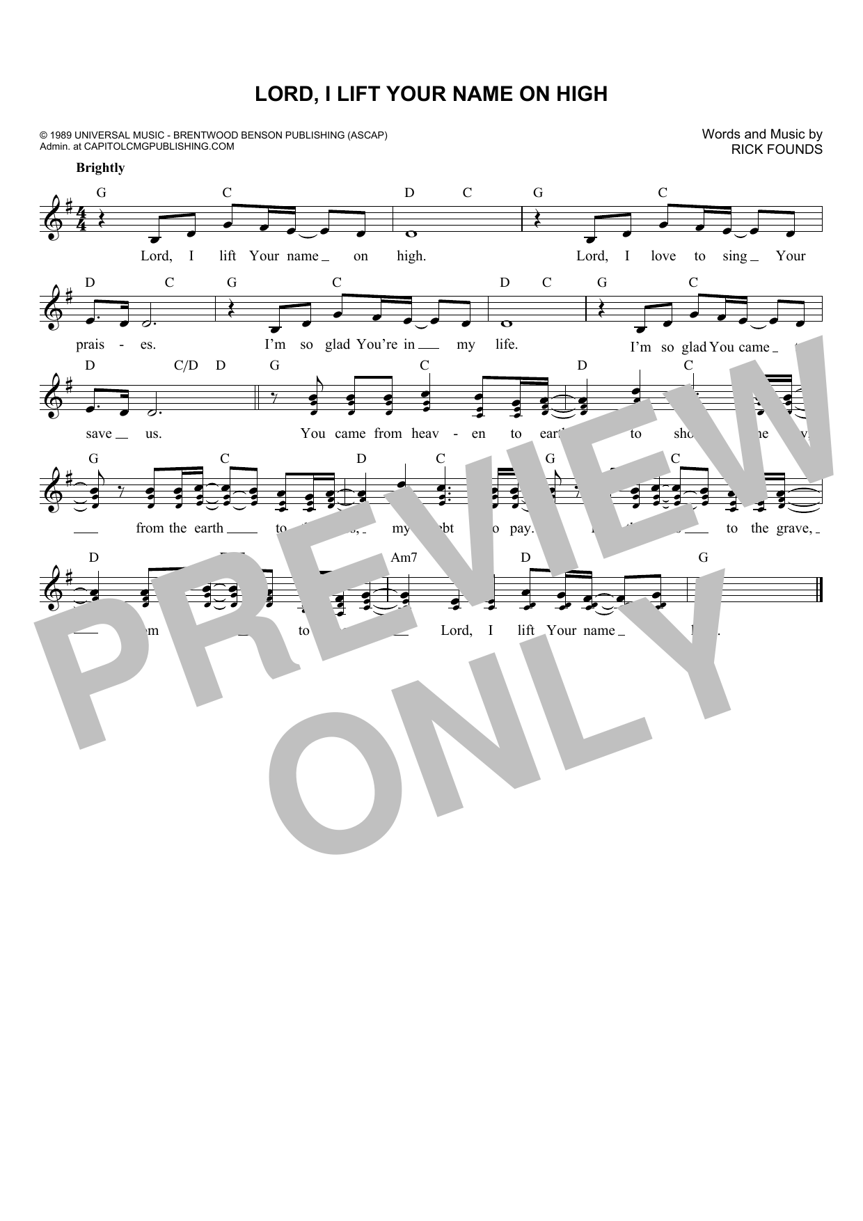 Lord, I Lift Your Name On High (Lead Sheet / Fake Book)