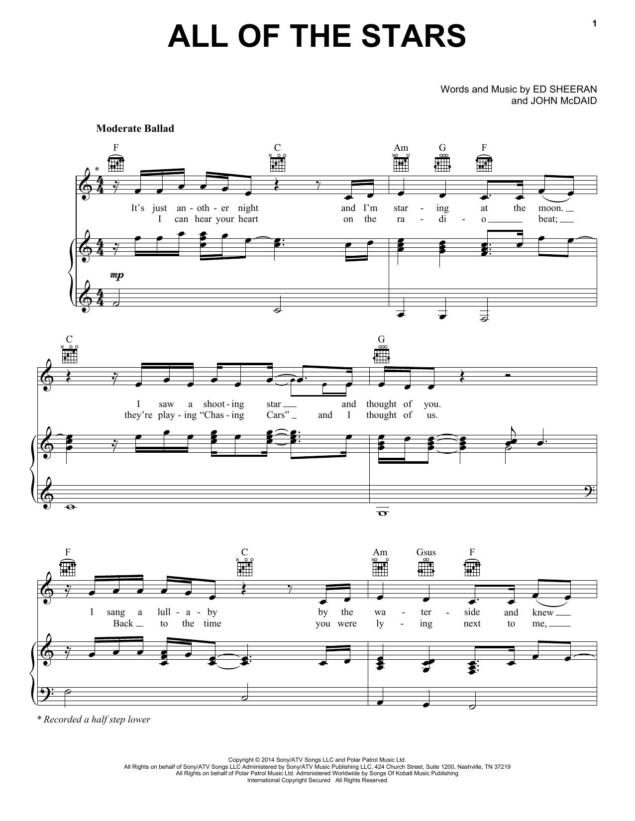 Partition piano All Of The Stars de Ed Sheeran - Piano Voix Guitare (Mélodie Main Droite)