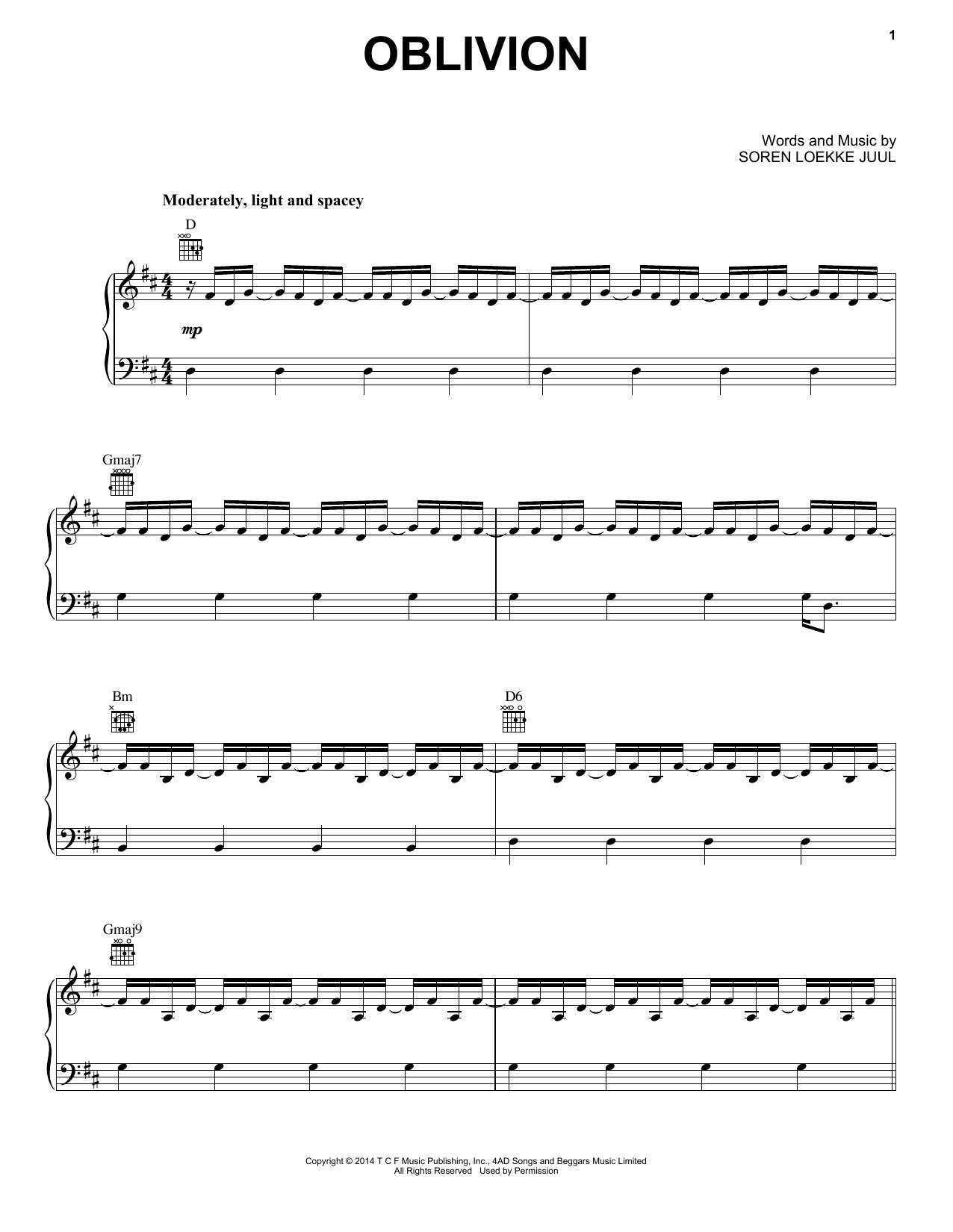 Partition piano Oblivion de Indians - Piano Voix Guitare (Mélodie Main Droite)