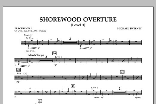 Shorewood Overture (for Multi-level Combined Bands) - Percussion 2 (Level 3) (Concert Band)