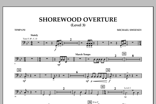Shorewood Overture (for Multi-level Combined Bands) - Timpani (Level 3) (Concert Band)