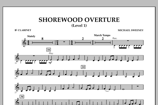 Shorewood Overture (for Multi-level Combined Bands) - Bb Clarinet (Level 1) (Concert Band)