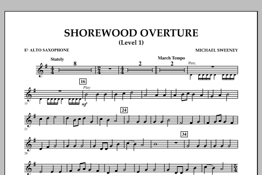 Shorewood Overture (for Multi-level Combined Bands) - Eb Alto Saxophone (Level 1) (Concert Band)