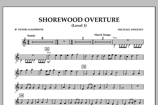 Shorewood Overture (for Multi-level Combined Bands) - Bb Tenor Saxophone (Level 1) (Concert Band)