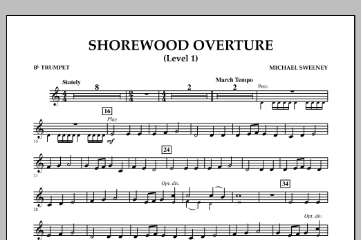 Shorewood Overture (for Multi-level Combined Bands) - Bb Trumpet (Level 1) (Concert Band)