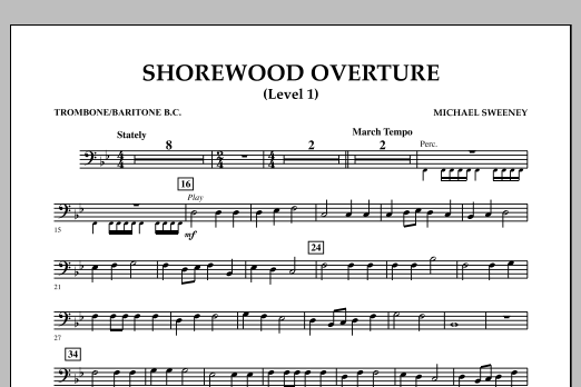 Shorewood Overture (for Multi-level Combined Bands) - Trombone/Baritone BC (Level 1) (Concert Band)