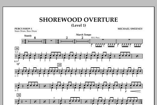 Shorewood Overture (for Multi-level Combined Bands) - Percussion 1 (Level 1) (Concert Band)