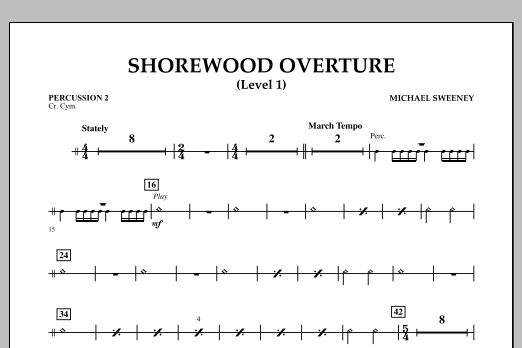 Shorewood Overture (for Multi-level Combined Bands) - Percussion 2 (Level 1) (Concert Band)