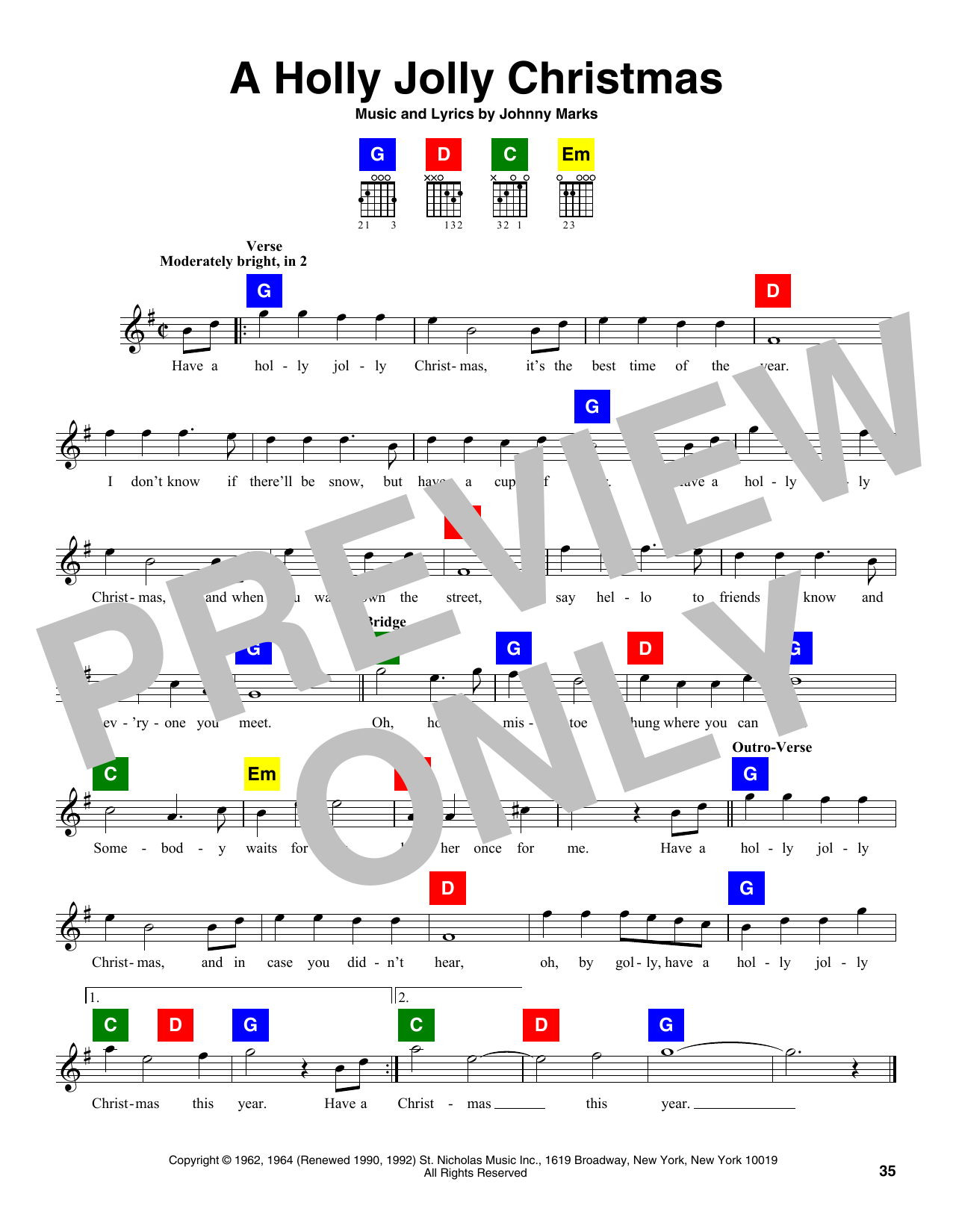 holly jolly christmas chords pdf