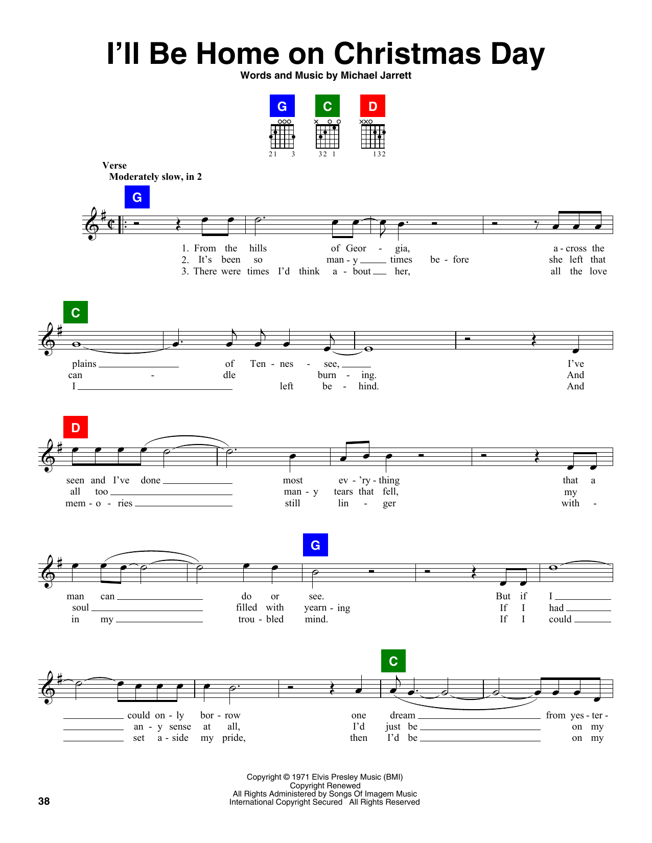 I\'ll Be Home On Christmas Day Sheet Music | Elvis Presley | ChordBuddy