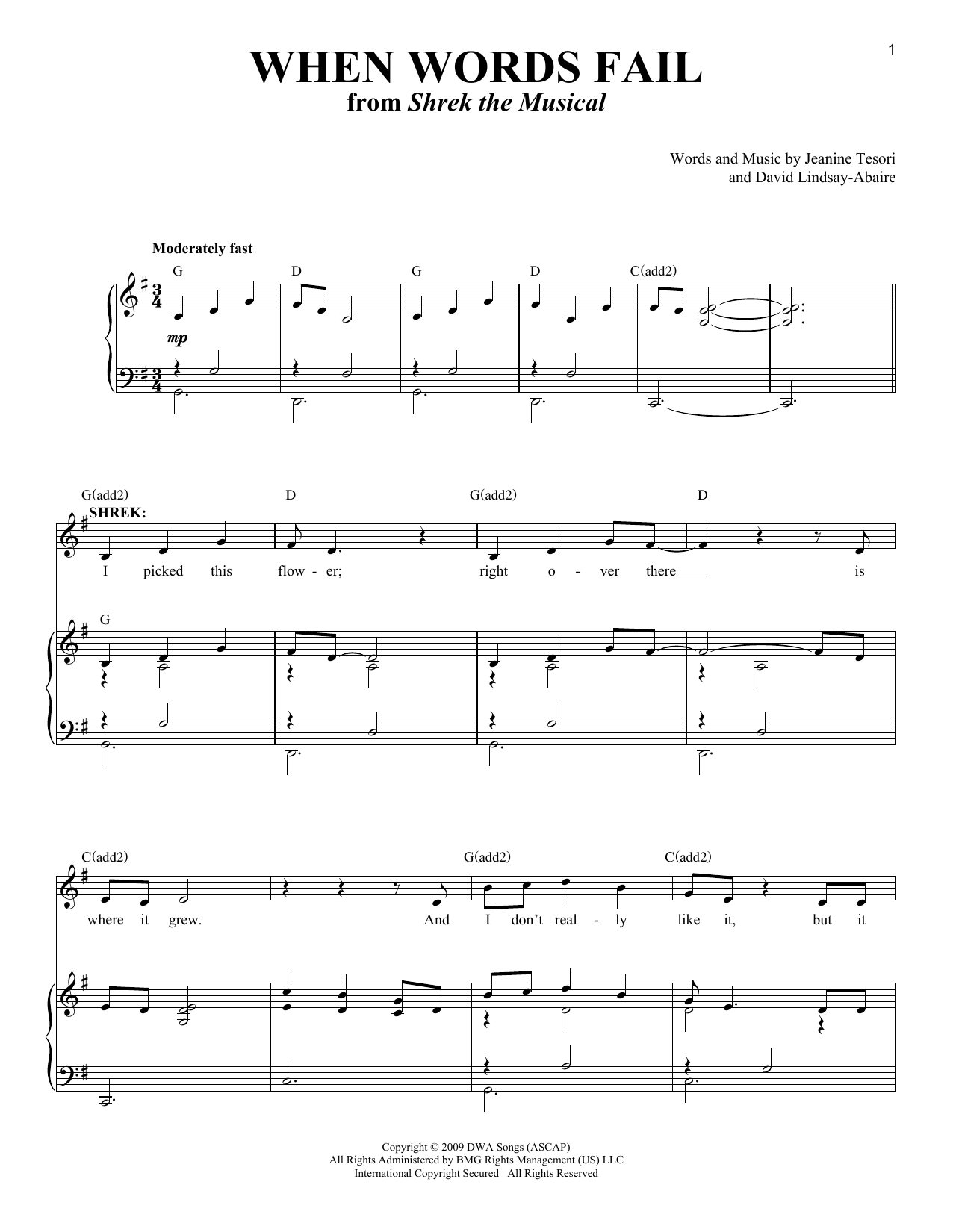 When Words Fail (from 'Shrek The Musical') Sheet Music