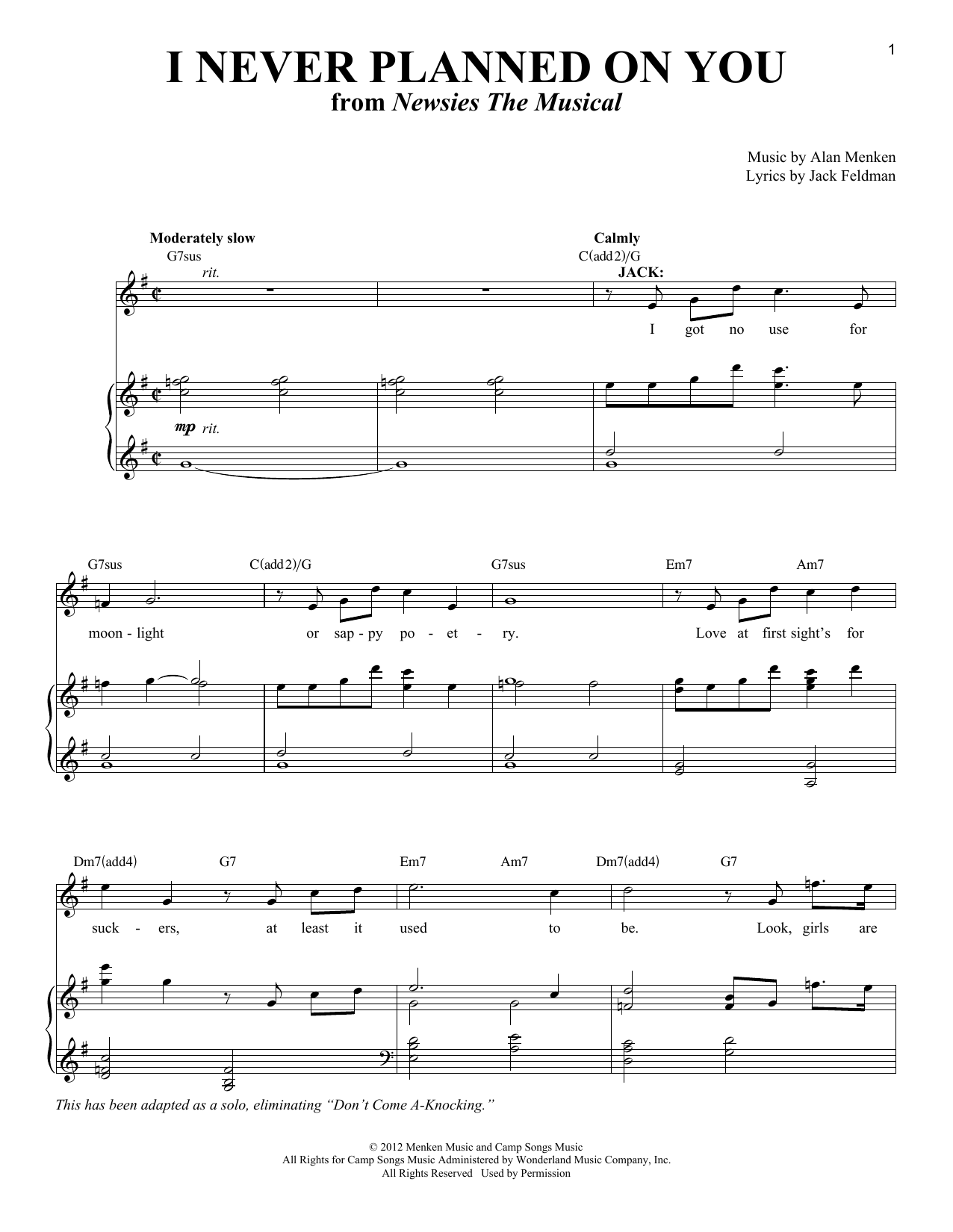 I Never Planned On You/Don't Come A-Knocking Sheet Music
