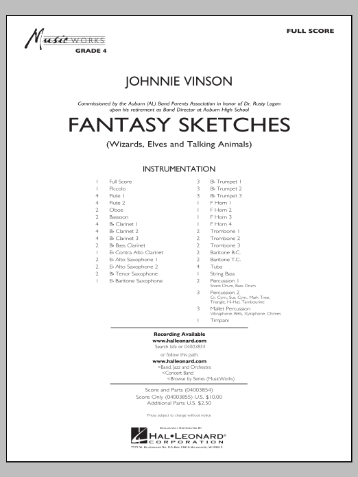 Fantasy Sketches (COMPLETE) sheet music for concert band by Johnnie Vinson. Score Image Preview.