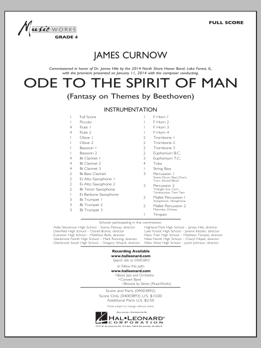Ode to the Spirit of Man (COMPLETE) sheet music for concert band by James Curnow. Score Image Preview.