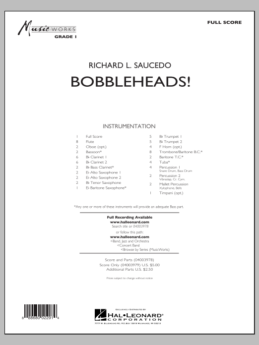 Bobbleheads! (COMPLETE) sheet music for concert band by Richard L. Saucedo. Score Image Preview.