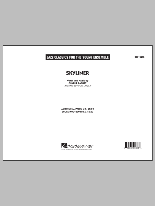 Skyliner (COMPLETE) sheet music for jazz band by Mark Taylor and Charlie Barnet. Score Image Preview.