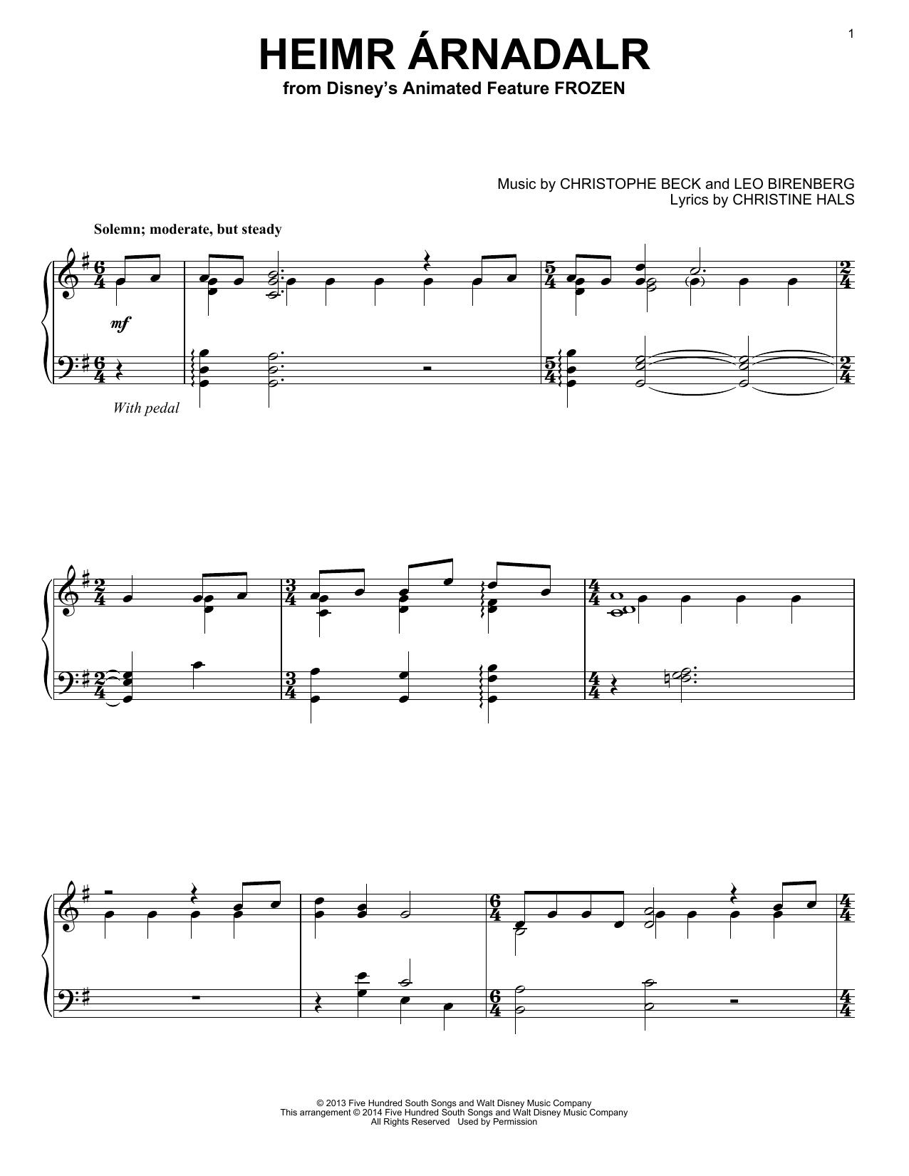 Partition piano Heimr Arnadalr de Robert Lopez - Piano Solo