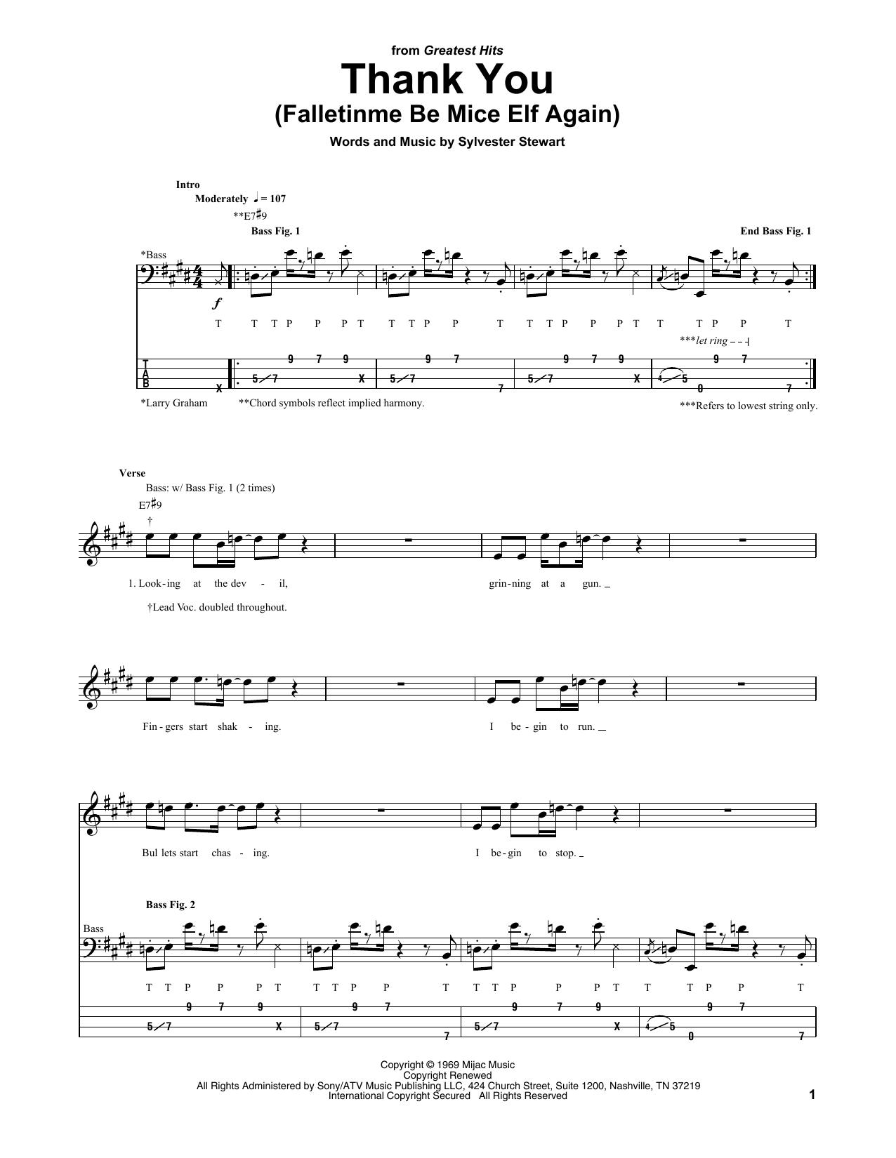 Thank You (Falletinme Be Mice Elf Again) Sheet Music