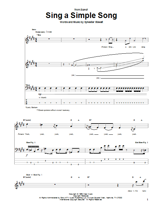 Sing A Simple Song Sheet Music