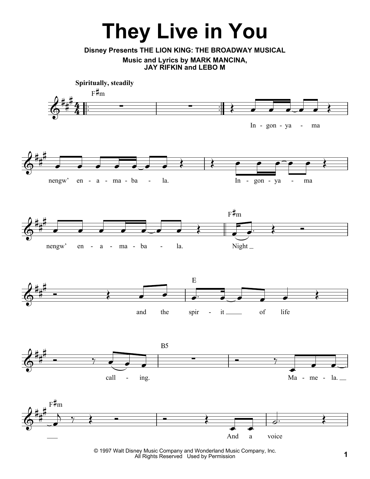 They Live In You Sheet Music
