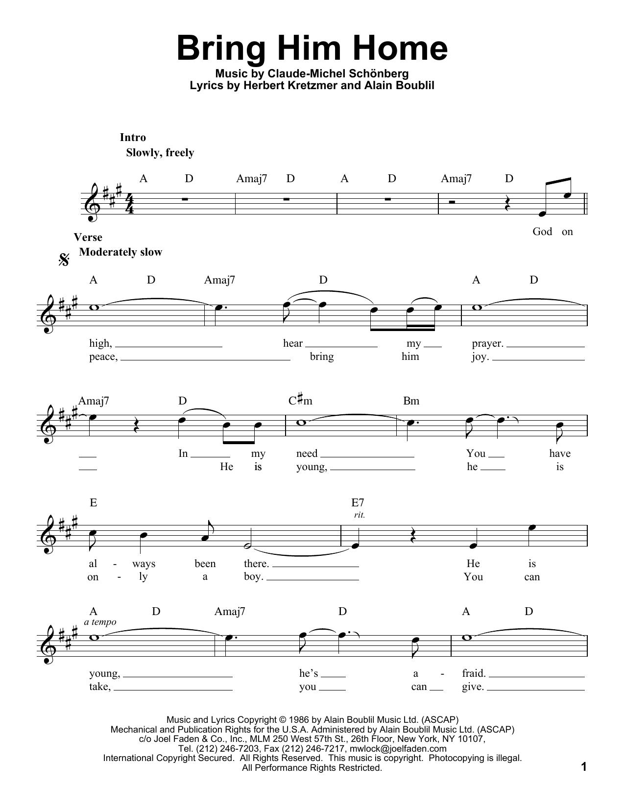 Bring Him Home sheet music by Claude Michel Schonberg Voice