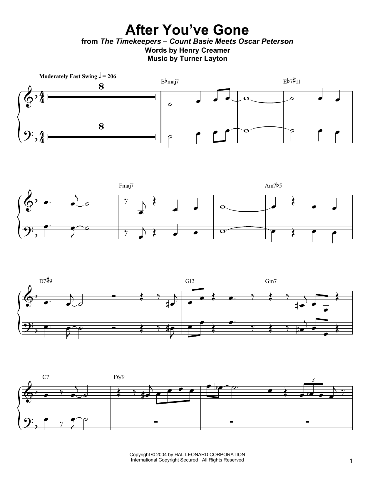After You've Gone (Piano Transcription)