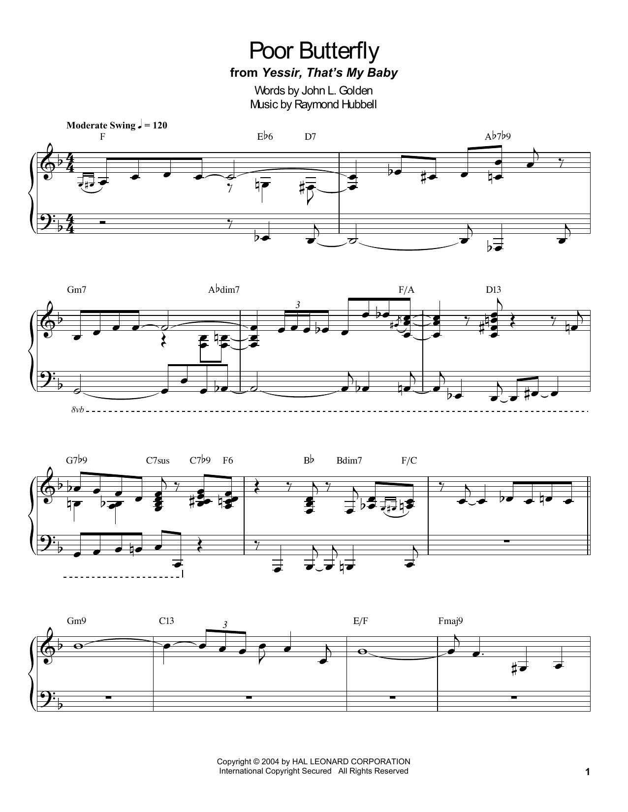 Poor Butterfly Sheet Music