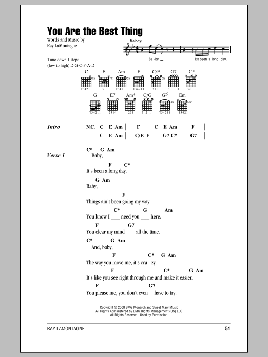 You Are The Best Thing Sheet Music | Ray LaMontagne | Lyrics & Chords
