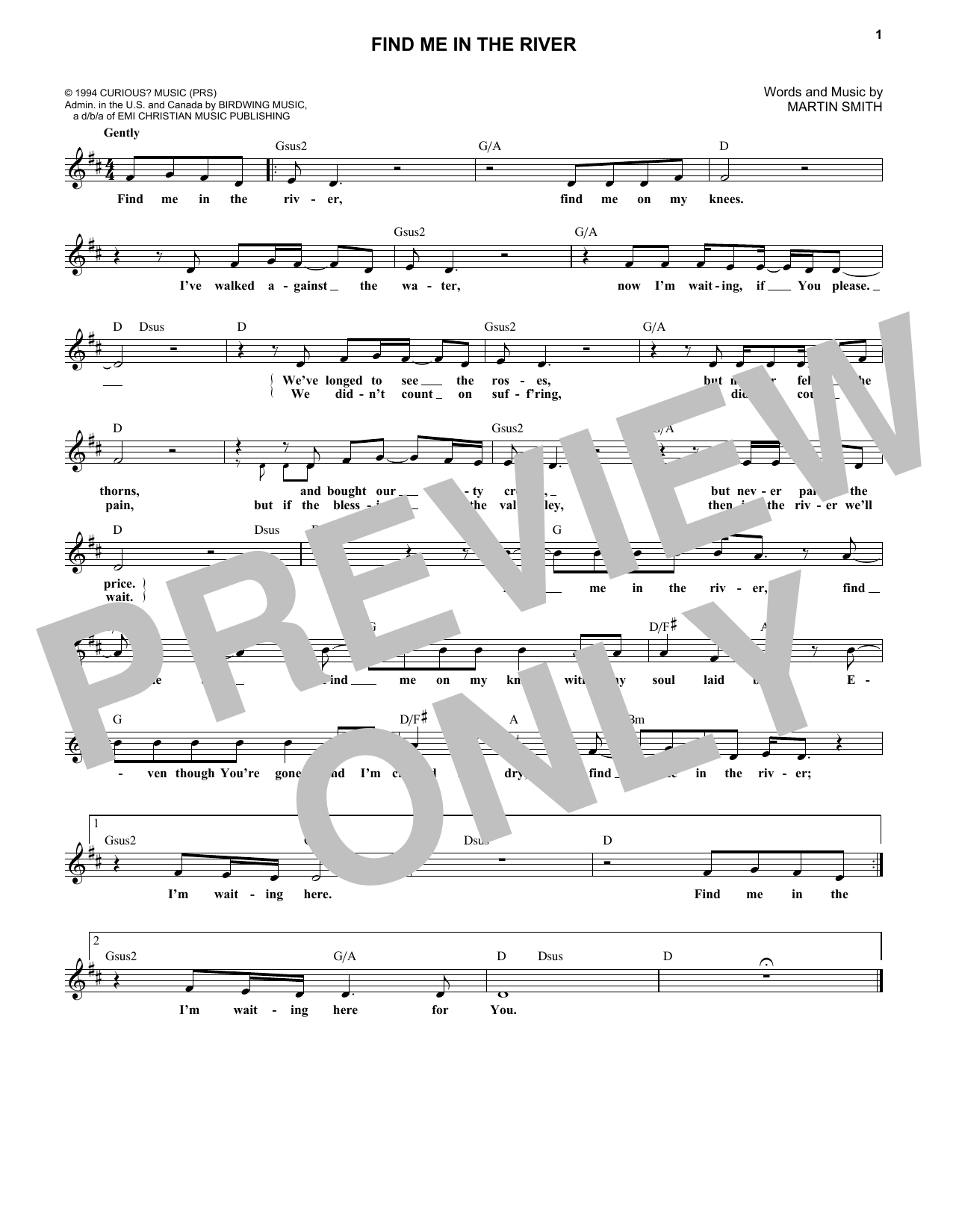 Find Me In The River (Lead Sheet / Fake Book)