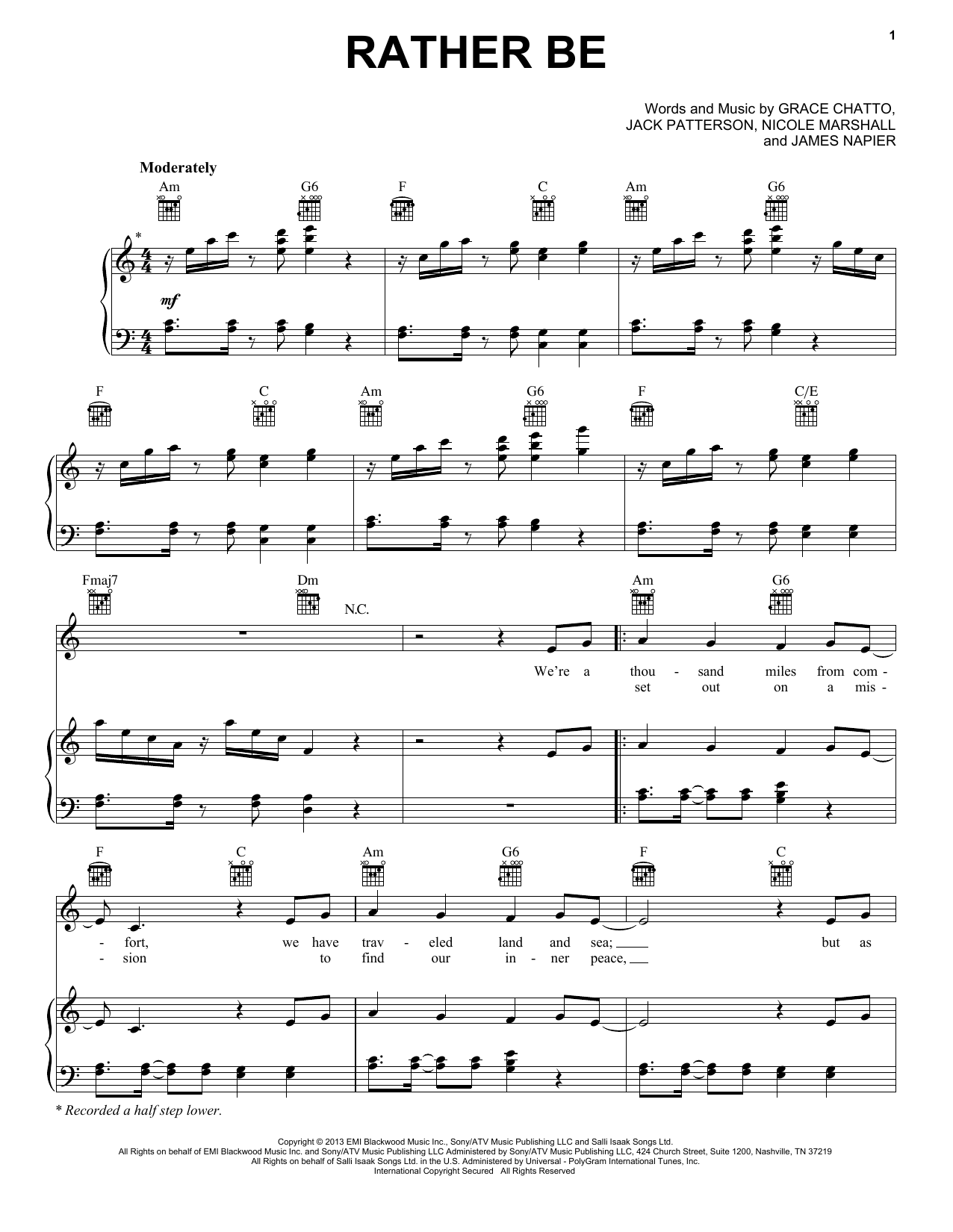 Ukulele rather be ukulele chords : Rather Be | Sheet Music Direct