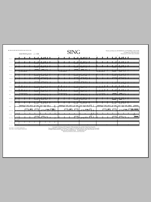 Sing (COMPLETE) sheet music for marching band by Tom Wallace, Ed Sheeran and Pharrell Williams. Score Image Preview.