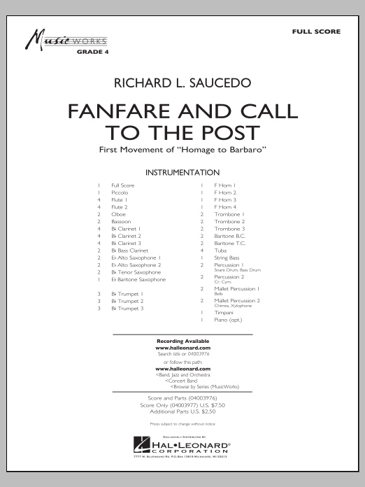 Fanfare and Call to the Post (COMPLETE) sheet music for concert band by Richard L. Saucedo. Score Image Preview.