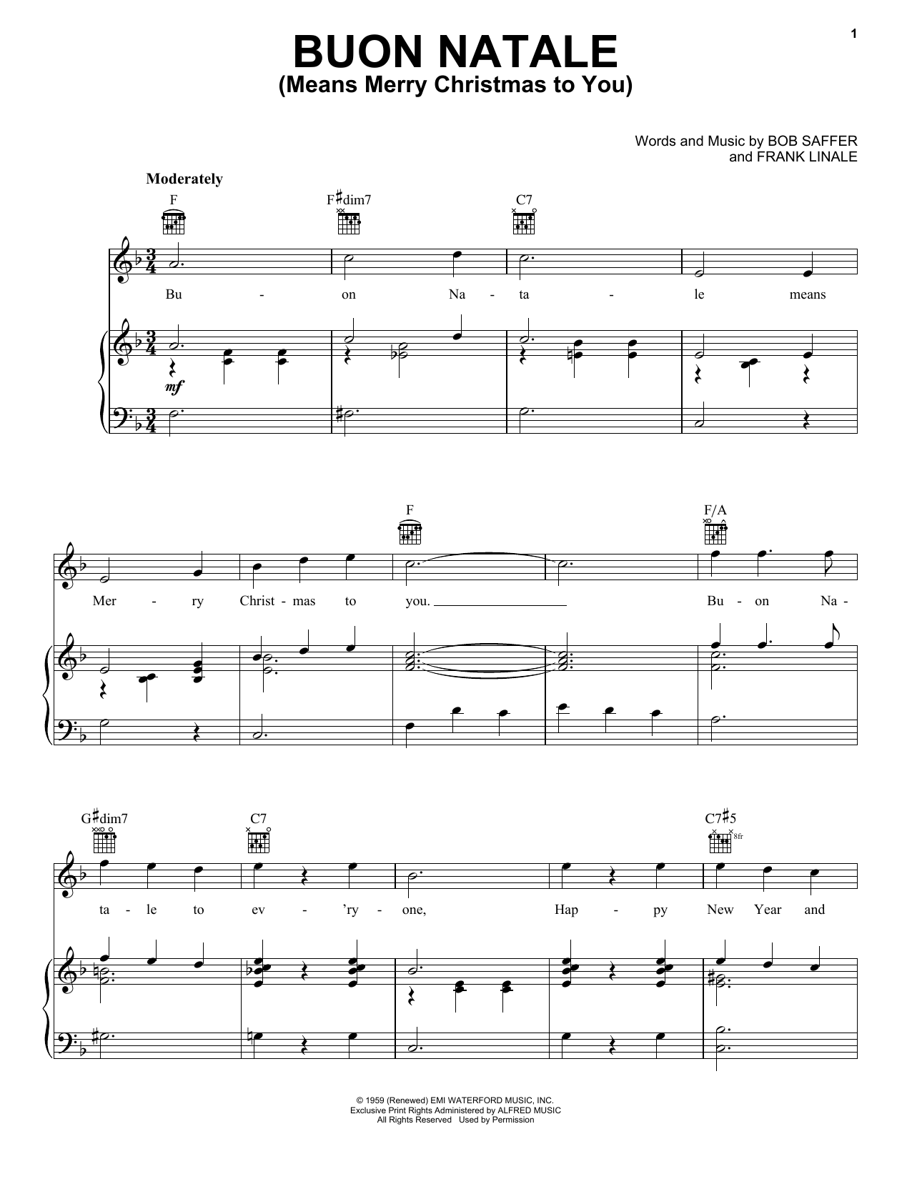 Buon Natale (Means Merry Christmas To You) Sheet Music