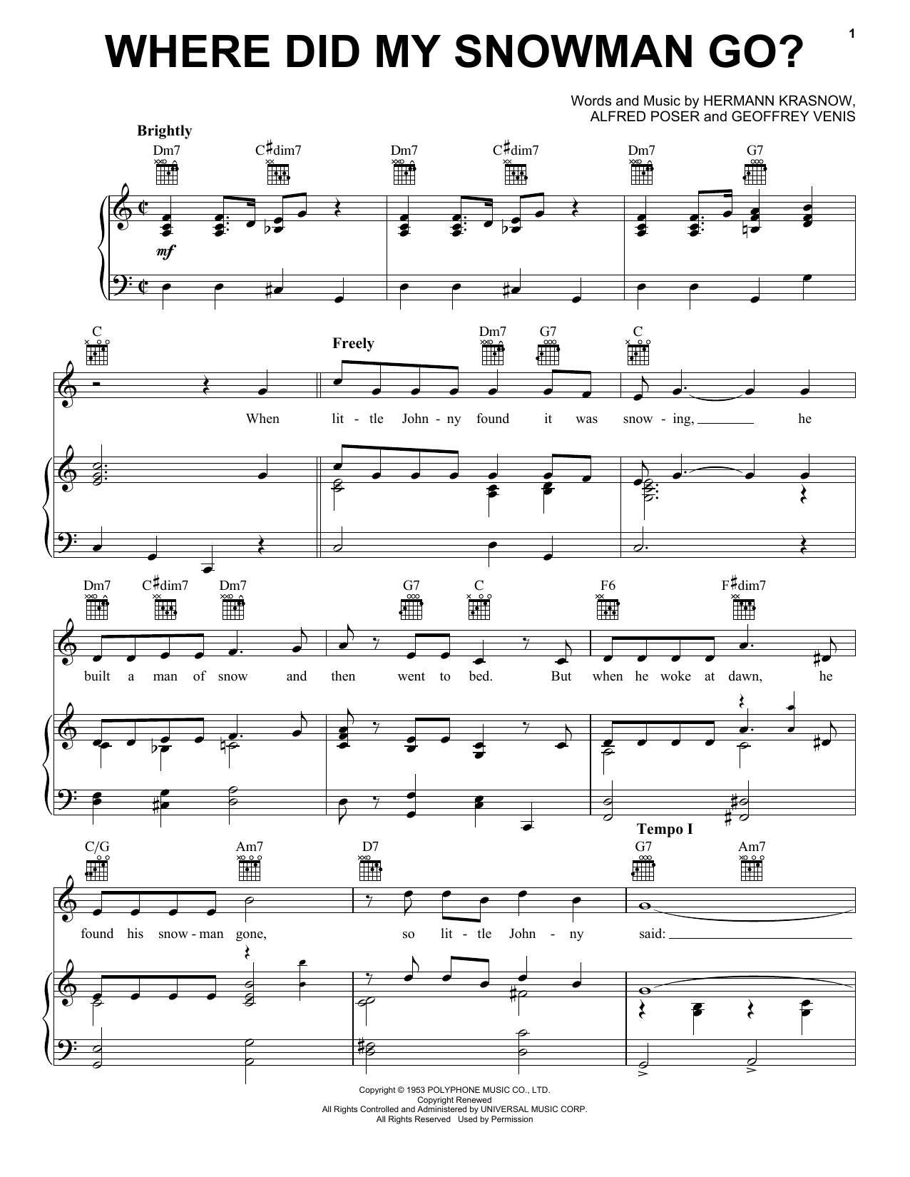 Where Did My Snowman Go? Sheet Music