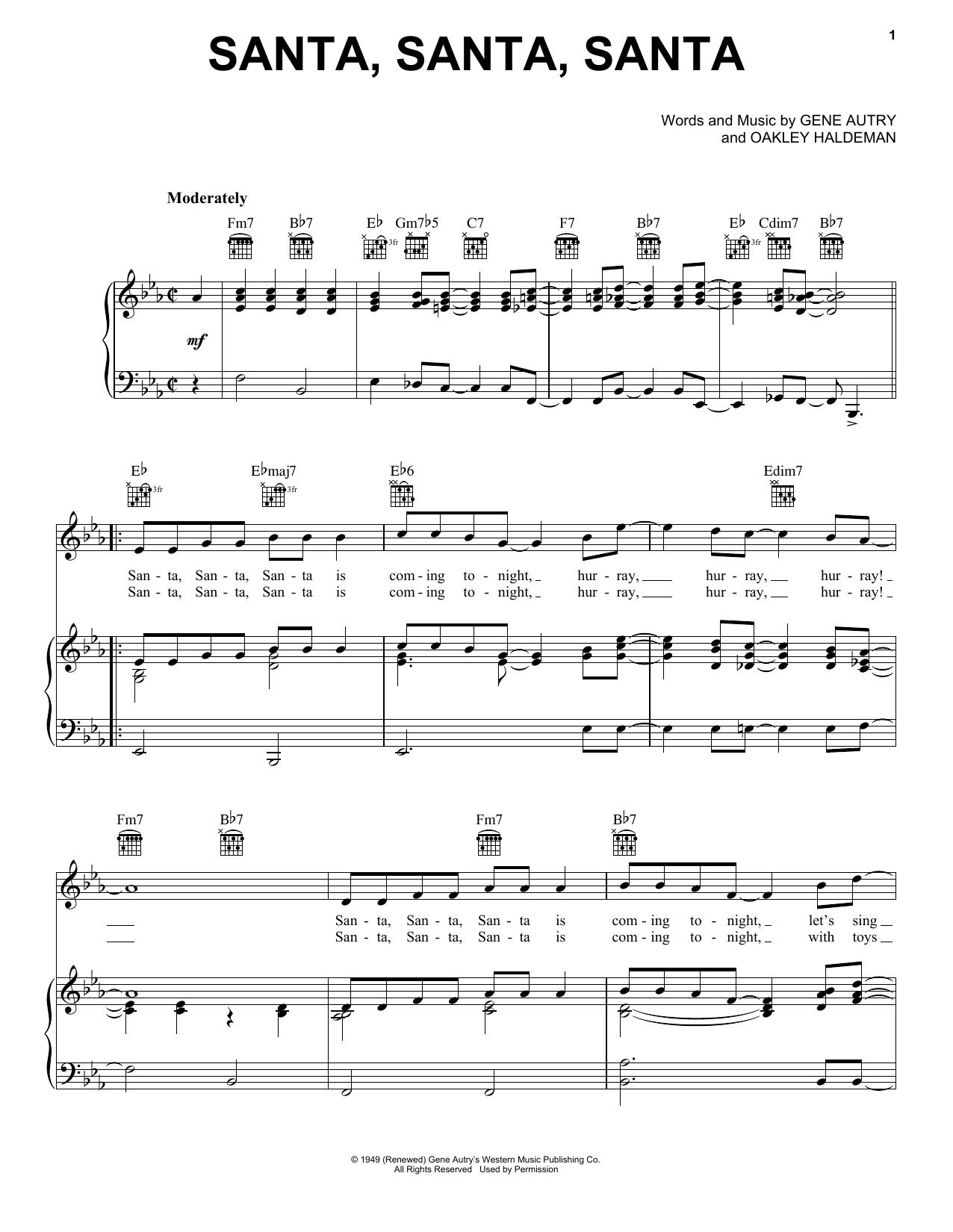 Partition piano Santa, Santa, Santa de Gene Autry - Piano Voix Guitare (Mélodie Main Droite)